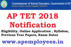 AP TET 2018 Notification Online Application Exam Date Results