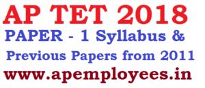 AP TET 2018 Paper 1 Syllabus Previous Question Papers Download