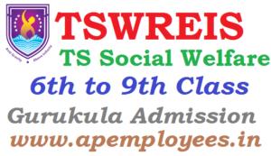TSWREIS Backlog Vacancies admissions for VI to IX Class 2018 TSWRIES Notification 2018 TSWRES Entrance Test TS Social welfare admissions Online application Telangana Gurukulam