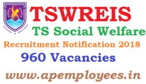 TSWREIS Recruitment Notification 2018 960 jobs Junior Lecturers PGT TGT