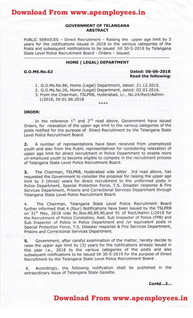 Telangana Police Raising of Upper Age Limit by 3 Years GO MS No 62